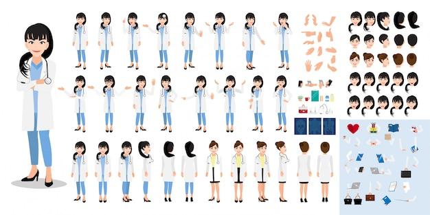 Zestaw znaków kreskówka lekarz kobieta