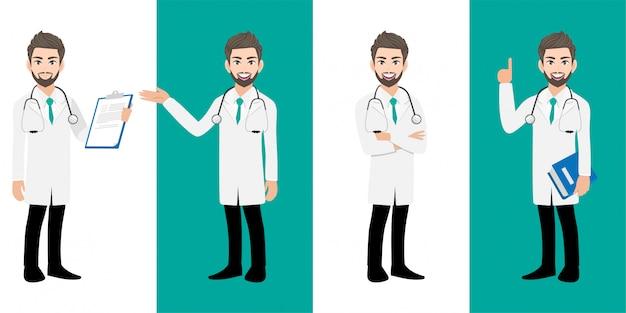 Zestaw znaków kreskówka lekarz mężczyzna