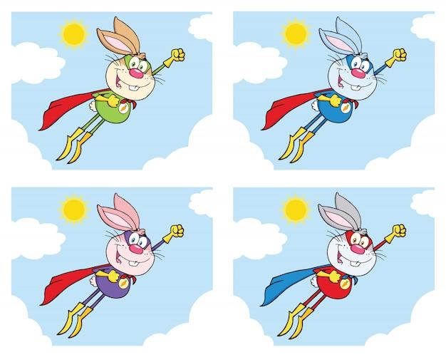 Zestaw znaków kreskówka maskotka królik superbohatera