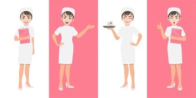 Zestaw znaków kreskówka pielęgniarka