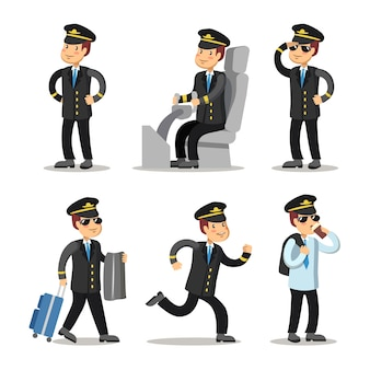 Zestaw znaków kreskówka pilota samolotu. kapitan statku powietrznego w mundurze.