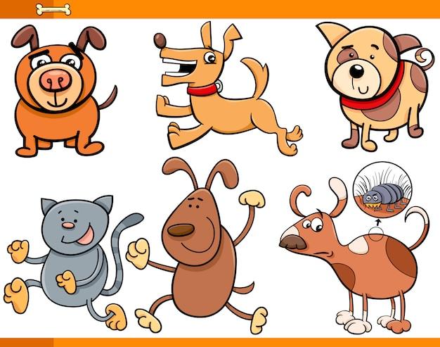 Zestaw znaków kreskówka psy