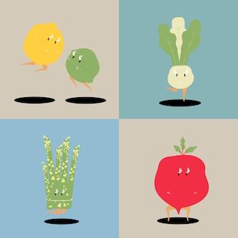 Zestaw znaków kreskówka wektor świeży warzyw