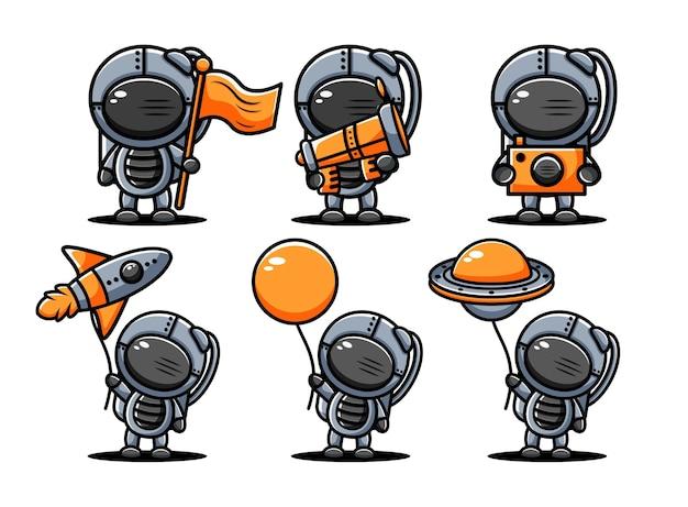 Zestaw znaków ładny astronout