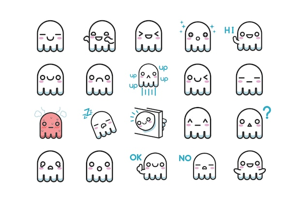 Zestaw znaków ładny biały duch naklejki z wieloma wyrażeniami