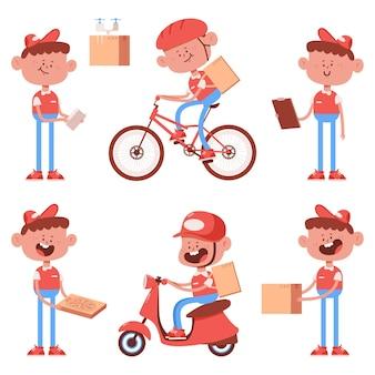 Zestaw znaków ładny chłopiec dostawy kreskówka na białym tle na białym tle