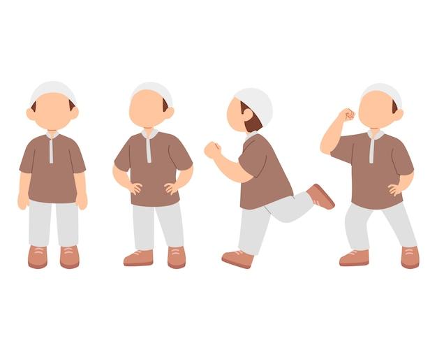 Zestaw znaków ładny chłopiec muzułmańskich