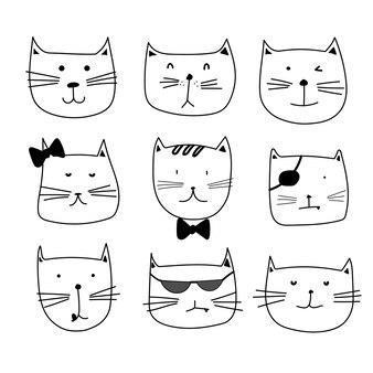Zestaw znaków ładny kot
