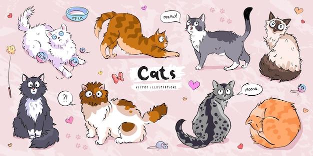 Zestaw znaków ładny koty różne pozy
