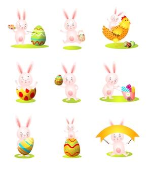 Zestaw znaków ładny królik wielkanocny w innej sytuacji