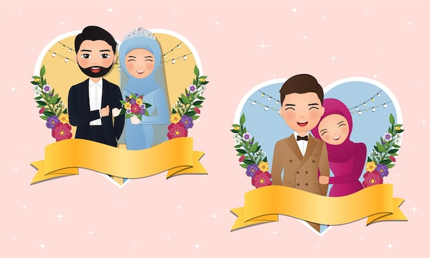Zestaw znaków ładny muzułmański panny młodej i pana młodego. karta zaproszenia ślubne. ilustracja w kreskówka para zakochanych
