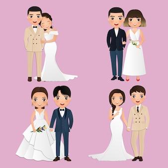 Zestaw znaków ładny panny młodej i pana młodego. karta zaproszenia ślubne. ilustracja wektorowa w kreskówka para zakochanych