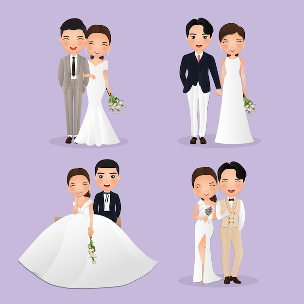 Zestaw znaków ładny panny młodej i pana młodego. karta zaproszenia ślubne. w kreskówka para zakochanych