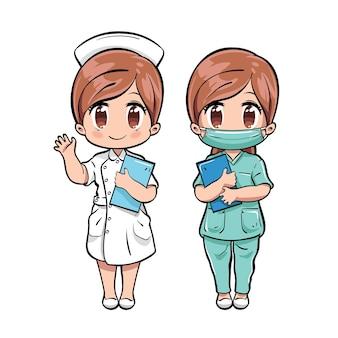 Zestaw znaków ładny pielęgniarka