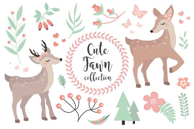 Zestaw znaków ładny płowy obiektów. kolekcja z małym jeleniem dla dziecka lub niemowlęcia