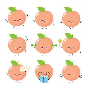 Zestaw znaków ładny szczęśliwy uśmiechający się brzoskwinia
