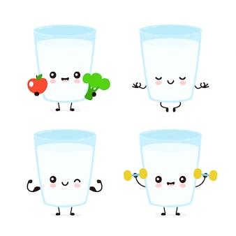 Zestaw znaków ładny uśmiechający się zadowolony mleko