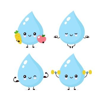 Zestaw znaków ładny uśmiechający się zadowolony z kropli wody
