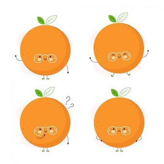 Zestaw znaków ładny zabawny owoc pomarańczowy