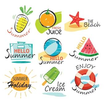 Zestaw znaków lato wyciągnąć rękę i banery. graficzny na letnie wakacje