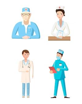 Zestaw znaków lekarza. kreskówka zestaw lekarza
