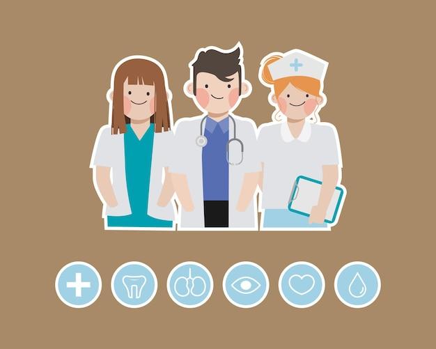 Zestaw znaków lekarza. opieka zdrowotna osób medycznych w szpitalu