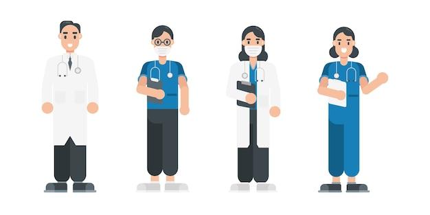 Zestaw znaków lekarza. postacie zespołu personelu medycznego w stylu płaski.