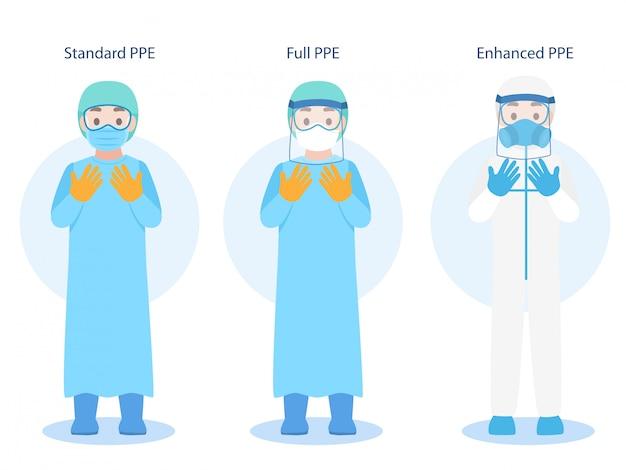 Zestaw znaków lekarzy noszących w osobiste wyposażenie ochronne ppe odzież izolowana i sprzęt bezpieczeństwa