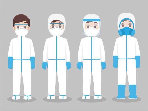 Zestaw znaków lekarzy noszących w pełnym kombinezonie ochronnym odzież izolowana i sprzęt bezpieczeństwa zapobiegający wirusowi