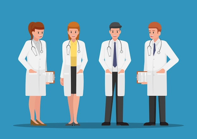 Zestaw znaków lekarzy płci męskiej i żeńskiej. koncepcja zespołu medycznego.