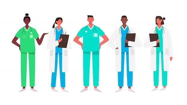 Zestaw znaków lekarzy. zaopatrzenia medycznego pojęcie w ilustracyjnym projekcie. personel medyczny lekarz pielęgniarka terapeuta chirurg profesjonalni pracownicy szpitala, grupa lekarzy.