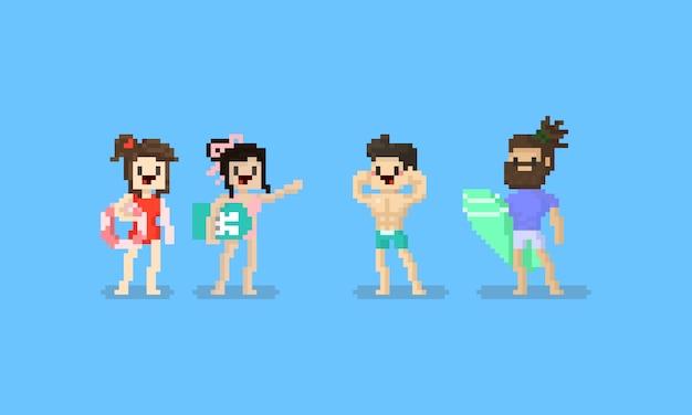 Zestaw znaków letniej plaży pixel. 8 bitowy.