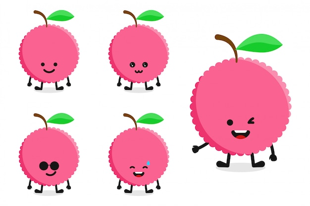 Zestaw znaków liczi owoców