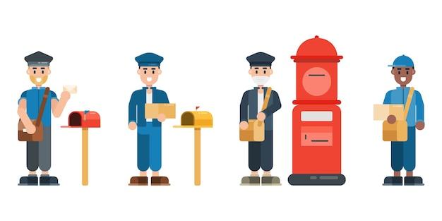 Zestaw znaków listonosza. listonosz w mundurze ze skrzynką pocztową. koncepcja usługi dostawy w stylu płaska konstrukcja.