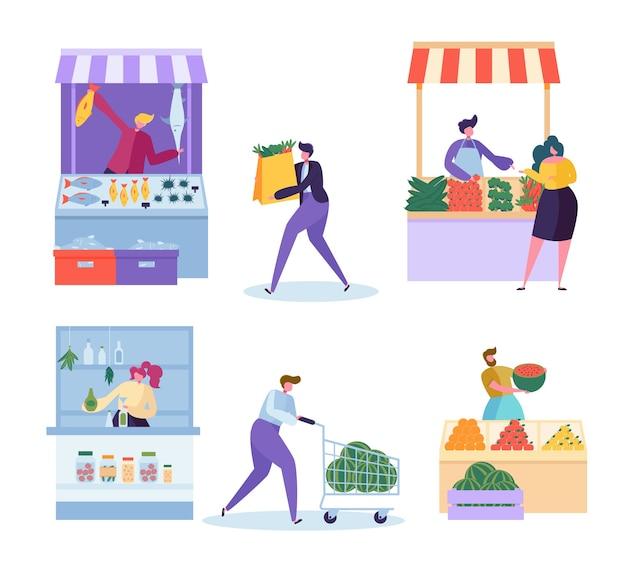Zestaw znaków lokalnego rynku żywności ekologicznej.