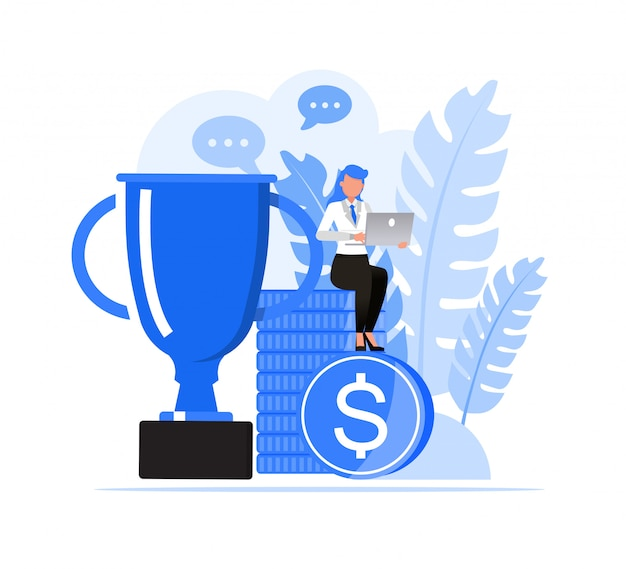 Zestaw znaków ludzi biznesu. biznesowa kobieta pracuje z trofeum i monetą.