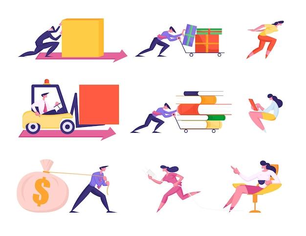 Zestaw znaków ludzi biznesu pchających wózek z plikami i pudełkami na prezenty