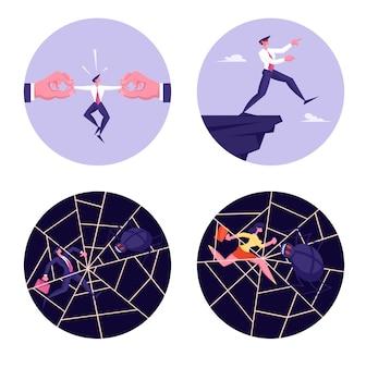 Zestaw znaków ludzi biznesu w niebezpiecznej sytuacji utknęli w pajęczynie