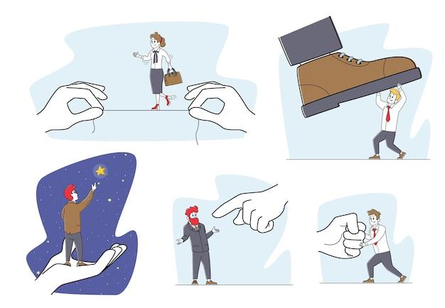 Zestaw znaków ludzi biznesu w sytuacjach stresowych i ryzykownych