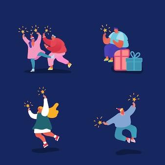 Zestaw znaków ludzi, obchodzi boże narodzenie i szczęśliwego nowego roku. mężczyźni i kobiety z fajerwerkami na imprezie, ferie zimowe. na pocztówkę, plakat, zaproszenie