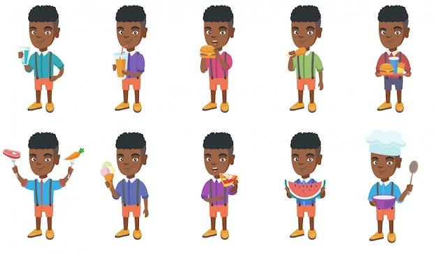 Zestaw znaków małego afrykańskiego chłopca