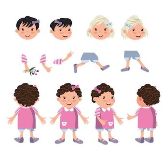 Zestaw znaków małej dziewczynki z różnych pozach