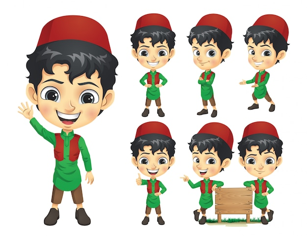 Zestaw znaków maskotka chłopiec muzułmańskich