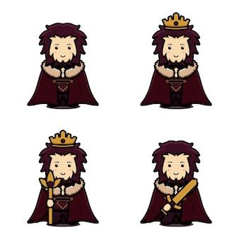 Zestaw znaków maskotka ładny król z różnych pozach ikona kreskówka.