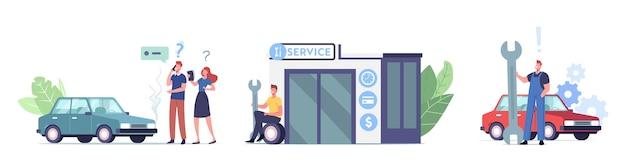 Zestaw znaków mechaniki auto service z instrumentami. diagnostyka i naprawa samochodów. mężczyźni w mundurze personel stacji obsługi. automatyczne sprawdzanie, konserwacja i naprawa. ilustracja wektorowa kreskówka ludzie