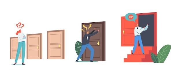 Zestaw znaków męskich i żeńskich w drzwiach na białym tle. kobieta wybierz wejście, biznesmen pukanie do zamkniętych drzwi, wybór życia, okazja. ilustracja wektorowa kreskówka ludzie