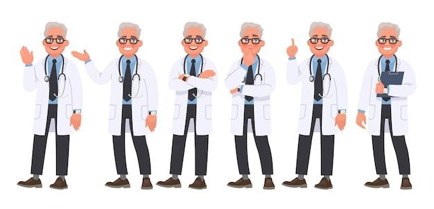 Zestaw znaków męskiego lekarza w różnych pozach i emocjach na białym tle