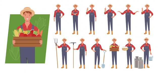 Zestaw znaków męskiego rolnika. różne pozy i emocje.