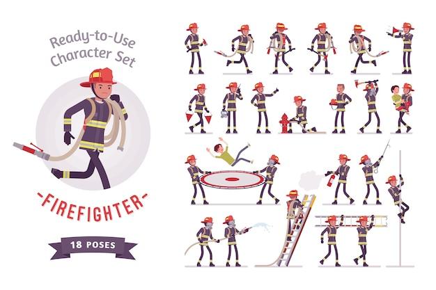 Zestaw znaków męskiego strażaka