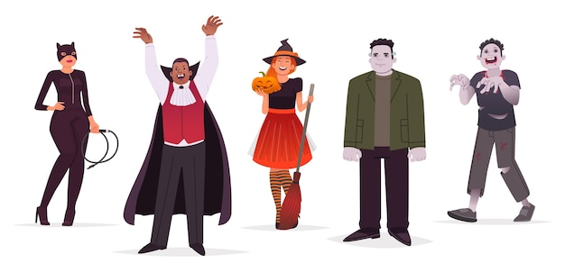 Zestaw znaków mężczyzn i kobiet ubrani w stroje halloween na białym tle. kotka, czarownica, potwór i zombie. ilustracja w stylu płaski.